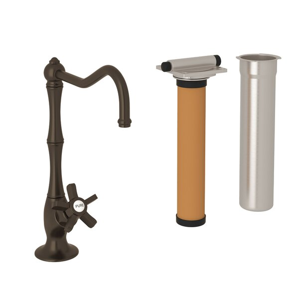 ROHL® Acqui® Column Spout Filter Faucet With Five Spoke Cross Handles In Tuscan Brass By Rohl