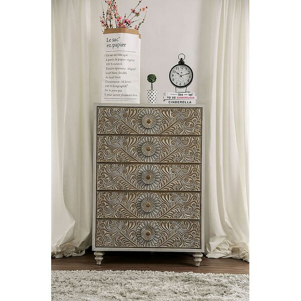 Wauwatosa Resin Floral Design 5 Drawer Chest by Ophelia & Co.