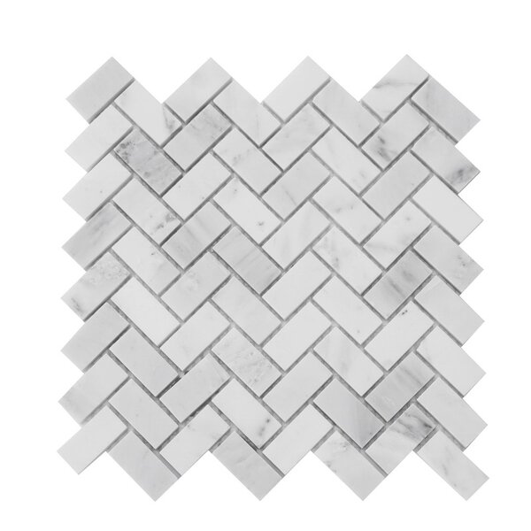 1 x 2 Marble Mosaic Tile in Carrara White by Luxsurface