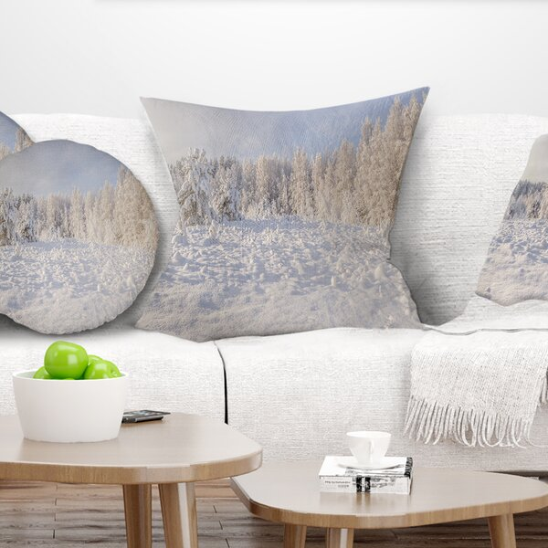 Landscape Printed Wood Winter Glade Pillow by East Urban Home