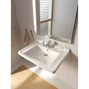Savings Starck 3 Ceramic 28 Wall Mount Bathroom Sink with Overflow By Duravit