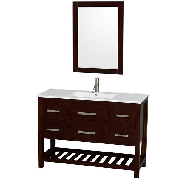 Natalie 48 Single Espresso Bathroom Vanity Set with Mirror by Wyndham Collection
