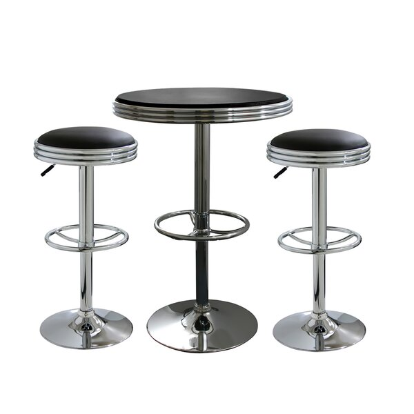 Kishore 3 Piece Adjustable Pub Table Set by Ebern Designs Ebern Designs