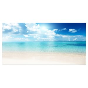 Sand of Beach in Blue Caribbean Sea Photographic Print on Wrapped Canvas by Design Art