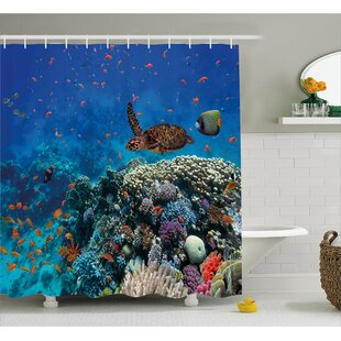 Great Price Fish and Turtle Decor Shower Curtain ByEast Urban Home