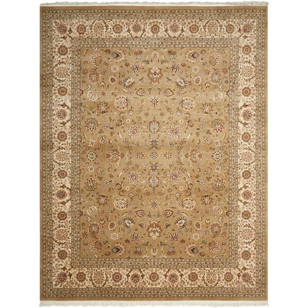 Dunluce Hand-Knotted Wool Khaki Area Rug by Canora Grey