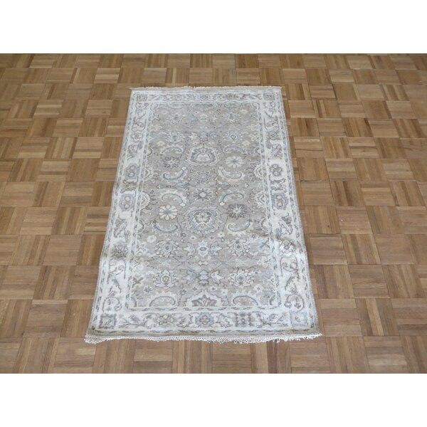 One-of-a-Kind Broadhurst Oushak Hand-Knotted Silk Taupe Area Rug by Isabelline