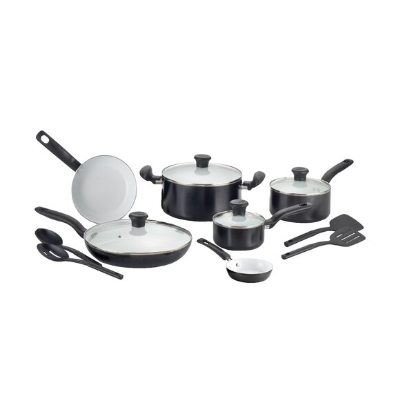 Initiatives Ceramic 14 Piece Non-Stick Cookware Set by T-fal
