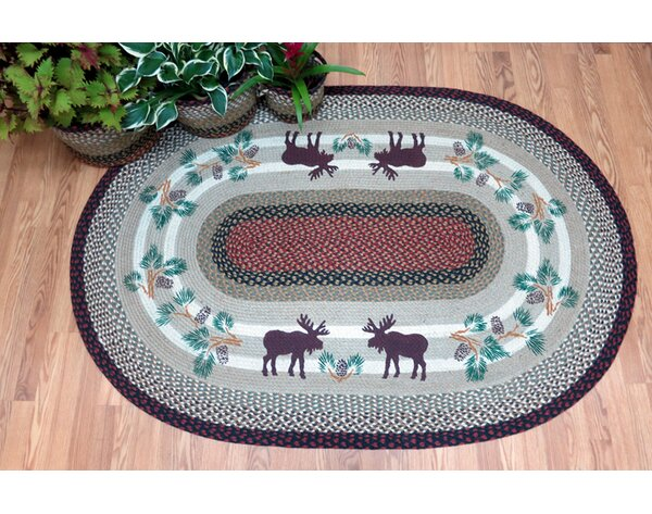 Moose Oval Gray Patch Area Rug by Earth Rugs
