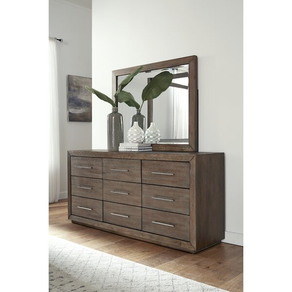 Gumpert 9 Drawer Double Dresser with Mirror by Wrought Studio