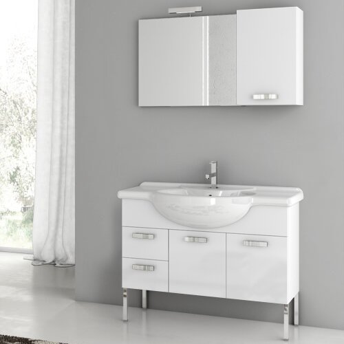 Phinex 42 Single Bathroom Vanity Set with Mirror by ACF Bathroom Vanities