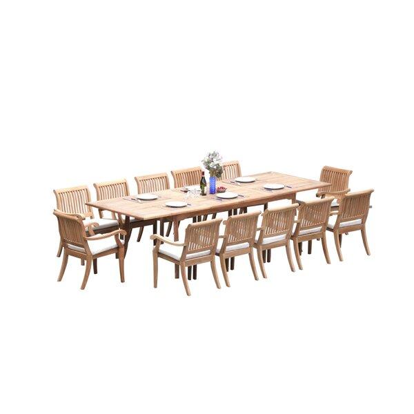Masten 13 Piece Teak Dining Set by Rosecliff Heights