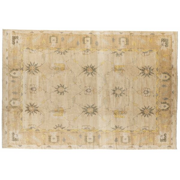 One-of-a-Kind Hand-Knotted Gold 15' x 22' Wool Area Rug