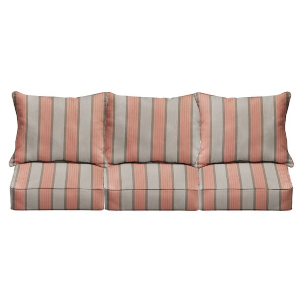 6 Piece Deep Seating Striped Indoor/Outdoor Sunbrella Sofa Cushion Set by Mozaic Company Mozaic Company