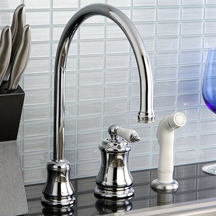 Restoration Single Handle Kitchen Faucet with Side Spray by Kingston Brass