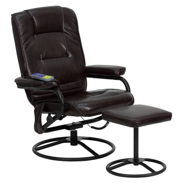 Reclining Heated Massage Chair with Ottoman Red Barrel Studio W000607193