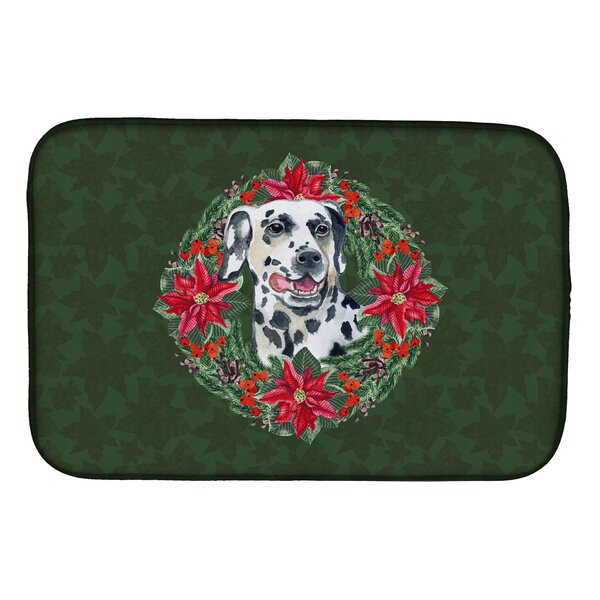 Dalmatian Poinsetta Wreath Dish Drying Mat by Caroline's Treasures