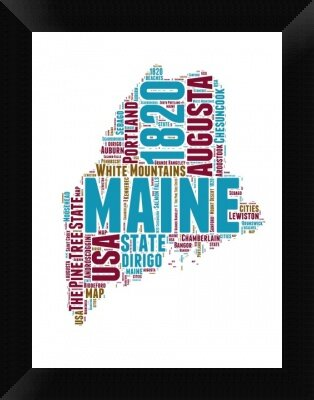 Naxart Maine Word Cloud Map Picture Frame Textual Art Print On Canvas Wayfair