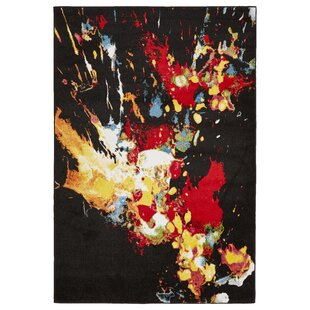 Comparison Andreasen Abstract Splash Black/Red/Yellow Area Rug ByWrought Studio