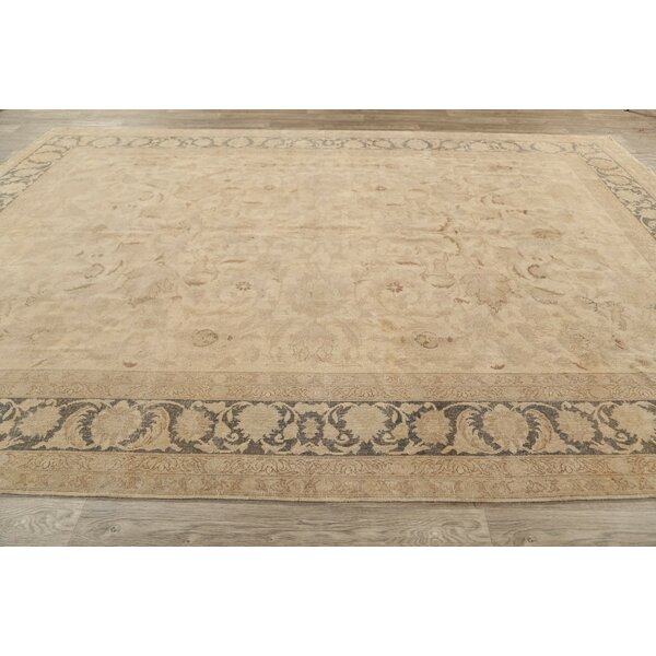 One-of-a-Kind Kelseyville Hand-Knotted Tabriz Light Brown 8'8 x 12'1 Wool Area Rug