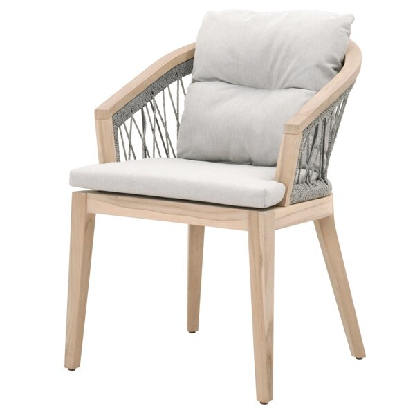Bostford Teak Patio Dining Chair with Cushion by Bungalow Rose