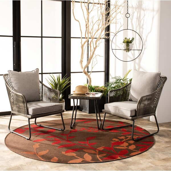 Ownby 3 Piece Rattan Seating Group with Cushions by Bungalow Rose