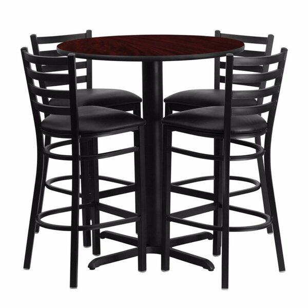 Alvarez Modern Round Laminate 5 Piece Upholstered Pub Table Set by Red Barrel Studio