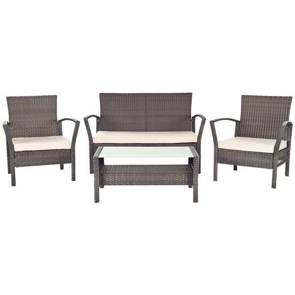 Avaron 4 Piece Sofa Set with Cushions by Safavieh