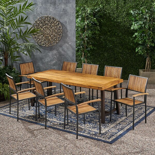 Onion Creek Outdoor 9 Piece Dining Set by Union Rustic