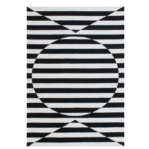 Gladding Stimulating Optical Illusion In The 3D Design Hand-Tufted Wool Black Area Rug by Brayden Studio