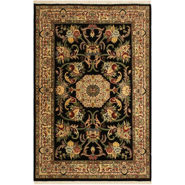 One-of-a-Kind Abequa Hand-Knotted Wool Black/Ivory Area Rug by Isabelline