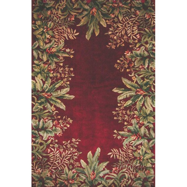 Marion Ruby Tropical Border Area Rug by Bay Isle Home