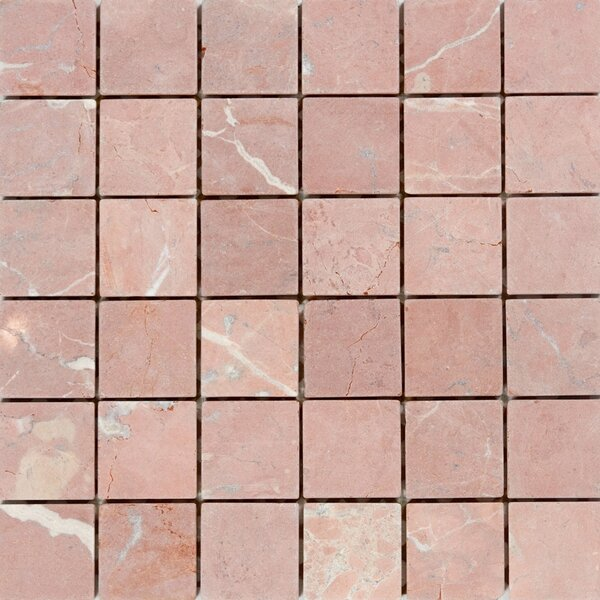 2 x 2 Marble Mosaic Tile in Honed Red by Epoch Architectural Surfaces