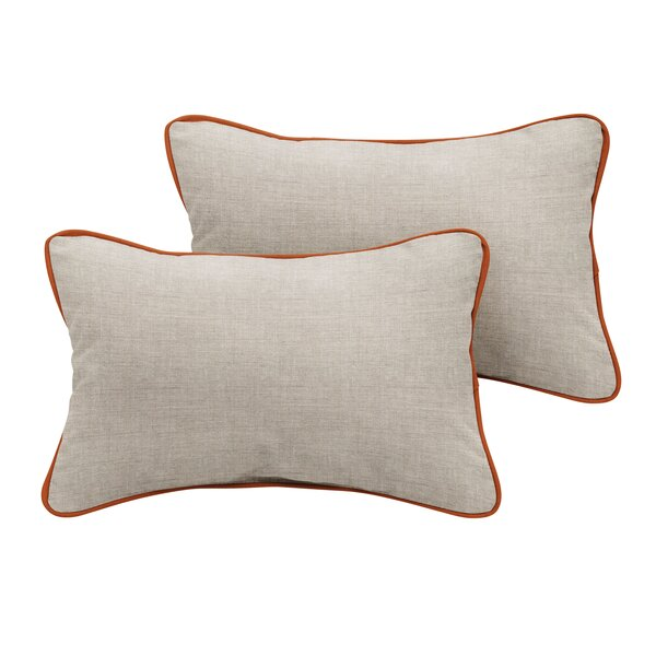 Atlantis Sunbrella Cast Outdoor Lumbar Pillow (Set of 2) by Rosecliff Heights
