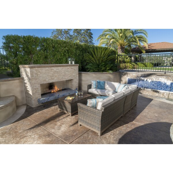 Eibhlin 5 Piece Rattan Sunbrella Sectional Seating Group by Bayou Breeze