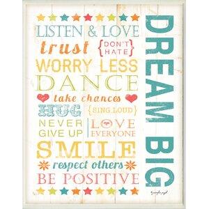 Stella Dream Big Kids Typography Wall Plaque by Viv + Rae