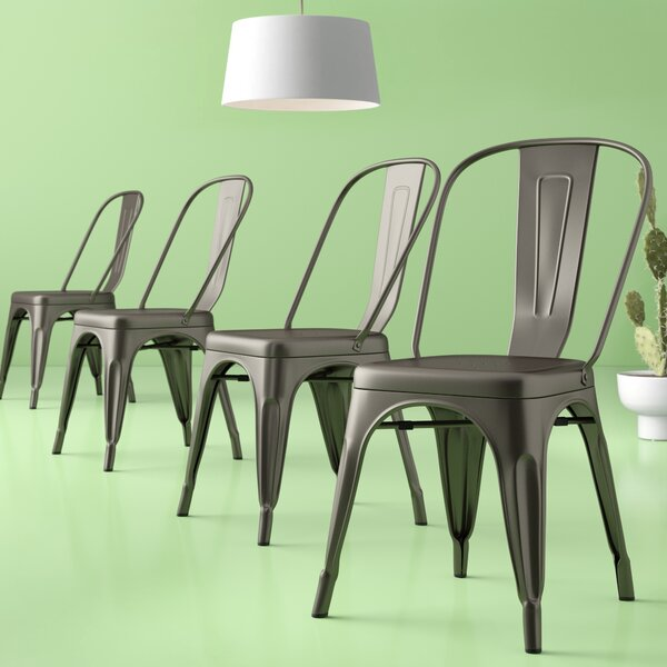 Chelsea Metal Slat Back Stacking Side Chair (Set Of 4) By Hashtag Home