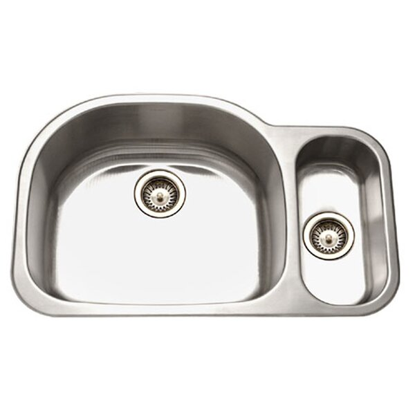 Medallion Designer 32 L x 21 W Undermount Double Bowl 80/20 Kitchen Sink by Houzer