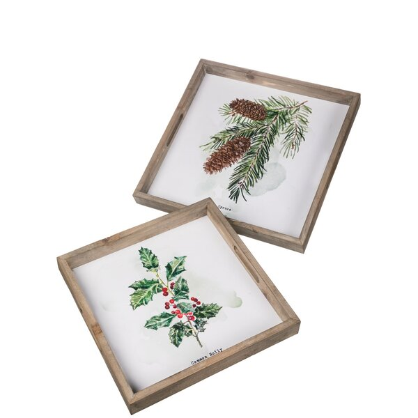 Ingrid 2 Piece Christmas Painted Pine Holly Accent Tray Set by The Holiday Aisle