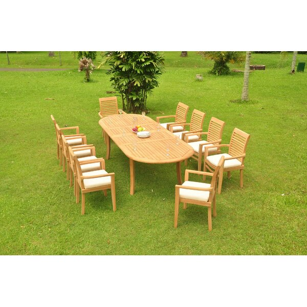 Farview Luxurious 11 Piece Teak Dining Set by Rosecliff Heights