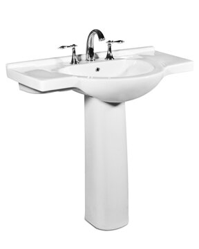 Palermo Ceramic 34 Pedestal Bathroom Sink with Overflow by St Thomas Creations by Icera