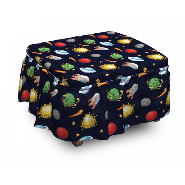 Space Cosmos 2 Piece Box Cushion Ottoman Slipcover Set By East Urban Home