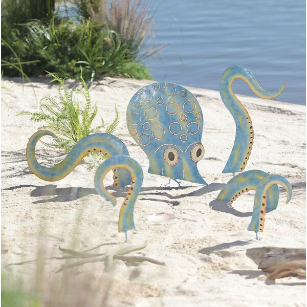 Metal Octopus 6 Piece Garden Stake Set by Wind & Weather