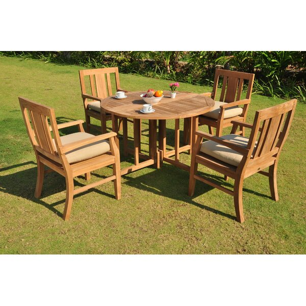 Kevon Luxurious 5 Piece Teak Dining Set by Rosecliff Heights