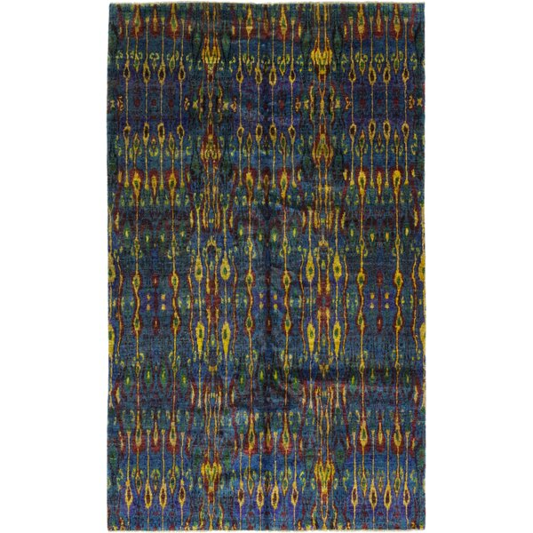 One-of-a-Kind Doyle-Ward Hand-Knotted Silk Blue/Yellow Indoor Area Rug by Bloomsbury Market