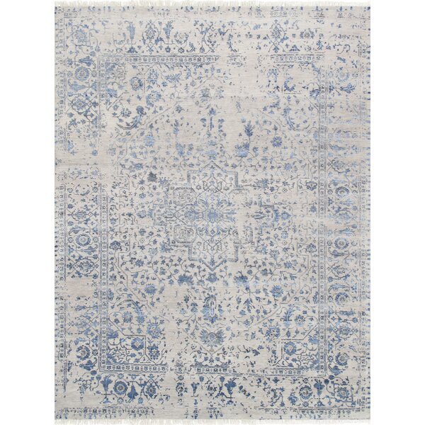 Pasargad Hand-Knotted Silk and Wool Gray/Blue Area Rug by Pasargad