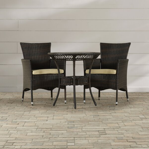 Lynbrook 3 Piece Dining Set with Cushions by Brayden Studio