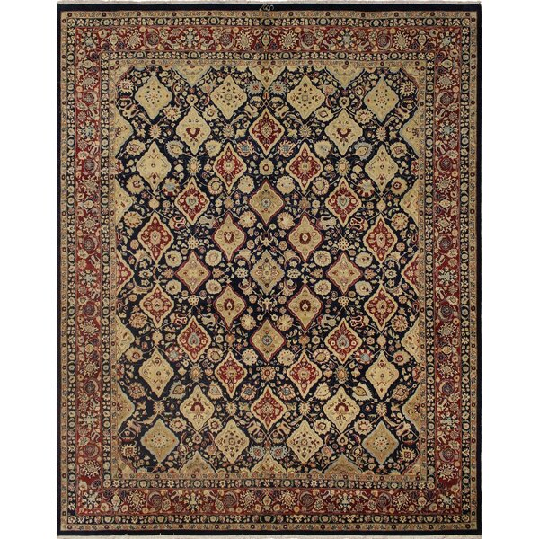 One-of-a-Kind Mickey Hand Knotted Wool Navy/Burgundy Area Rug by Isabelline