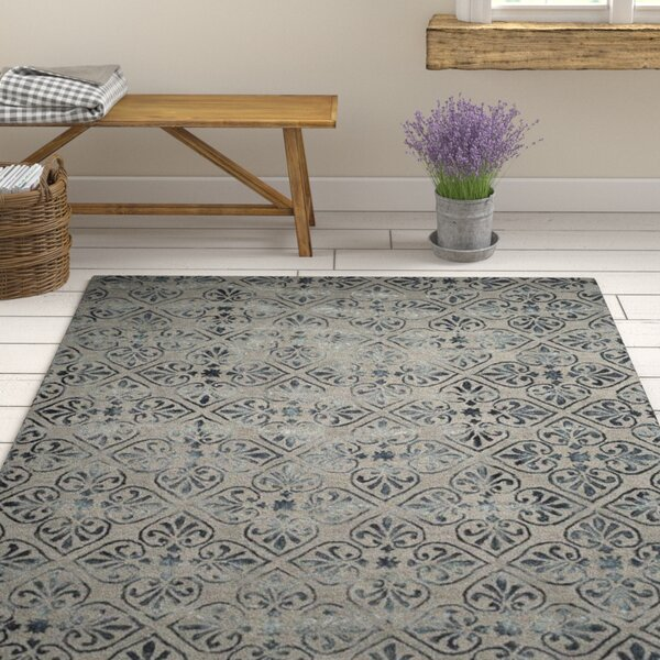 Edmeston Hand-Tufted Gray/Charcoal Area Rug by Ophelia & Co.