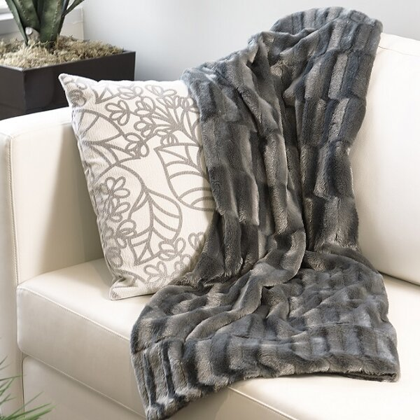 Mink Faux Fur Throw by Flato Home Products